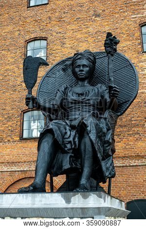 Copenhagen, Denmark - February 7, 2020: I Am Queen Mary Statue By Virgin Islands Artist La Vaughn Be
