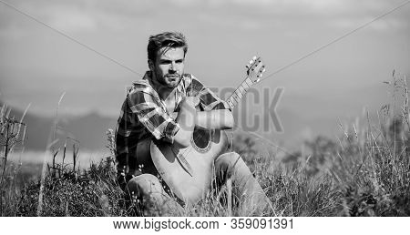 Pleasant Time Alone. Musician Looking For Inspiration. Dreamy Wanderer. Peaceful Mood. Guy With Guit