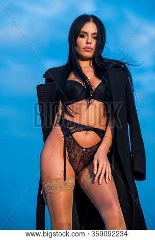 Sex Shop Concept. Woman Fashion Model In Sexy Lingerie. Fetish And Sexual Games. Sexy Girl Wearing C