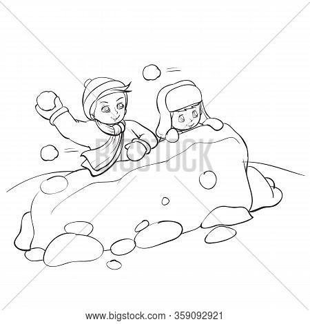 Children Built A Fortress Out Of Snow And Play Snowballs, Outline Drawing, Isolated Object On A Whit
