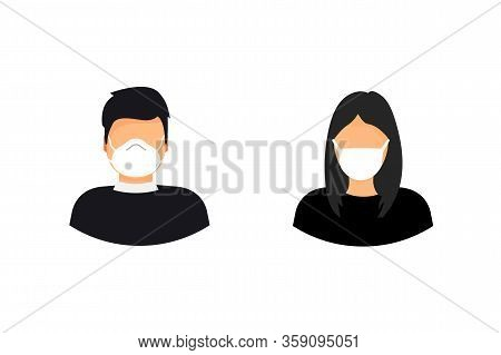 Man And Woman Wearing Medical Face Mask. Epidemic, Flu Protection, Avoiding Virus. Coronavirus. 2019
