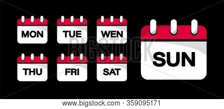Calendar Web Buttons - Days Of The Week. The Days Of Week Badges. Set Of Every Day Of A Week Calenda