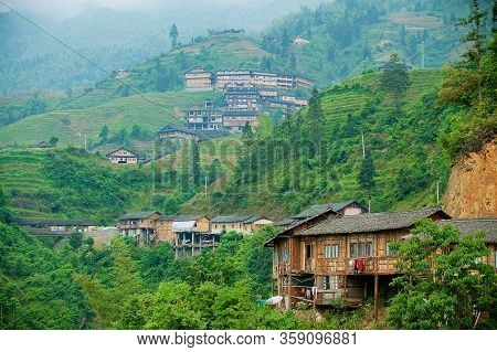Longsheng, China - May 06, 2009: The Longsheng Rice Terraces And Village In Longsheng County About 1