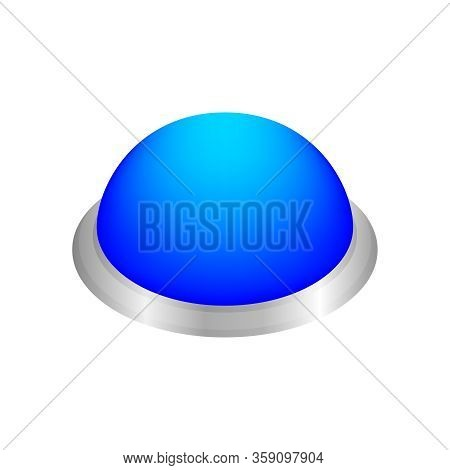 Button Circle Shape Blue For Buttons Games Play Isolated On White, Blue Modern 3d Buttons Simple And