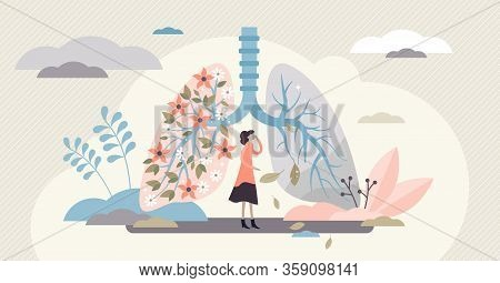 Lung Health Vector Illustration. Covid-19 Artistic Disease Visualization Flat Tiny Persons Concept.