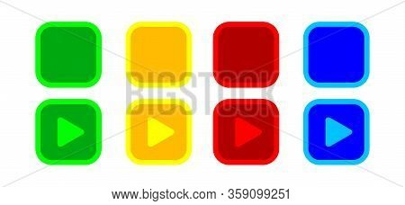 Button Square 2d Shape For Buttons Games Play Isolated On White, Colorful Modern Buttons Flat Simple