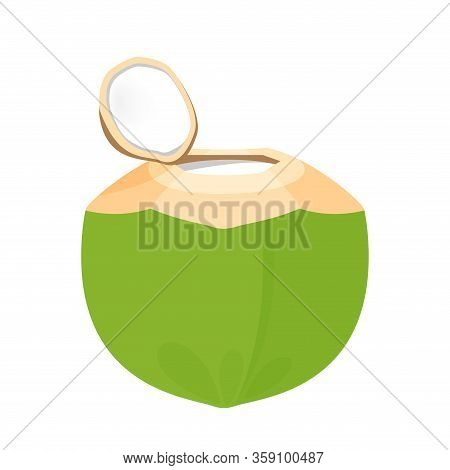 Coconut Juice Nature Fresh Isolated On White, Coconut Green Young Half Cut For Healthy Menu Fruit Ju