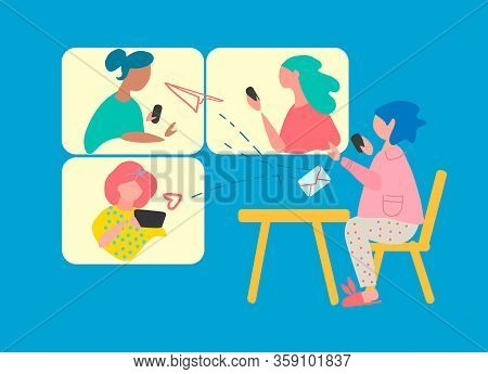 Remote Work Concept. Online Meeting Concept. Video Conferencing Software Ad. Covid-19 Quarantine Con