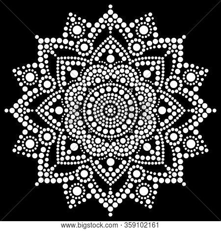Mandala Vector Dot Art, Aboriginal Dot Painting, Retro Folk Design Inspired By Traditional Art From