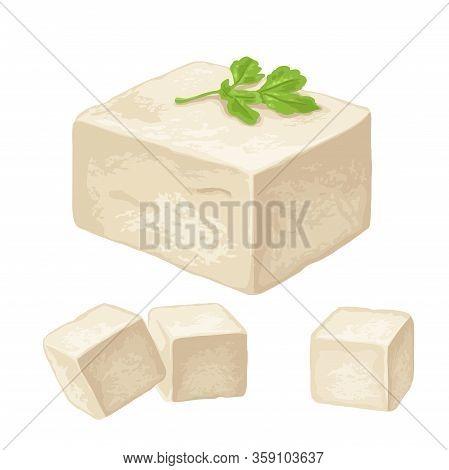 Tofu. Vector Color Flat Illustration Isolated On White Background.