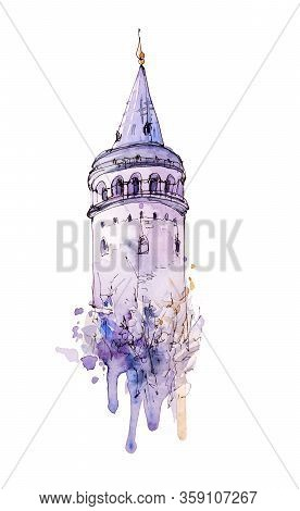 Watercolor And Ink Sketch Of Galata Tower, Istanbul, Turkey. Hand Painted Isolated Element In Modern