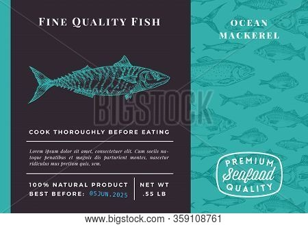 Premium Quality Mackerel Abstract Vector Packaging Design Or Label. Modern Typography And Hand Drawn