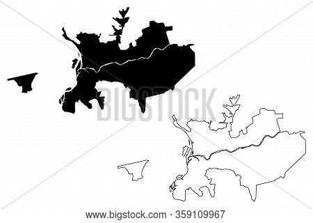 Ulan-ude City (russian Federation, Russia, Republic Of Buryatia) Map Vector Illustration, Scribble S