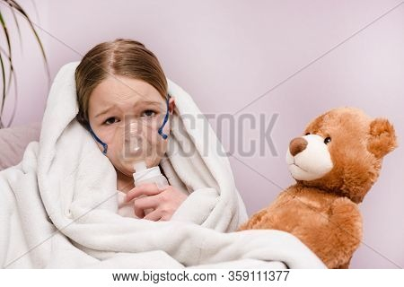 Respiratory Inhalation, Personal Care, Hospital. Kid Girl, Asthma Problem. Little Girl Sitting With