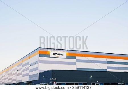 Brandizzo, Italy - March 2020: Amazon Establishment In Piedmont, Italy. American Multinational Techn