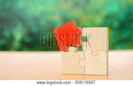 One Wooden Puzzle Is Different From The Rest. Individual Opinion Concept. Stand Out From The Crowd.
