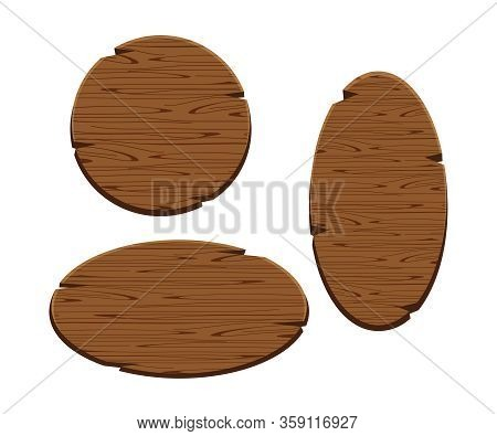 Round Wooden Sign And Oval Isolated On White Background, Set Of Wood Panel Frame Cartoon Style, Coll