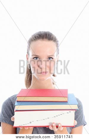 Quizzical Student Carrying Textbooks