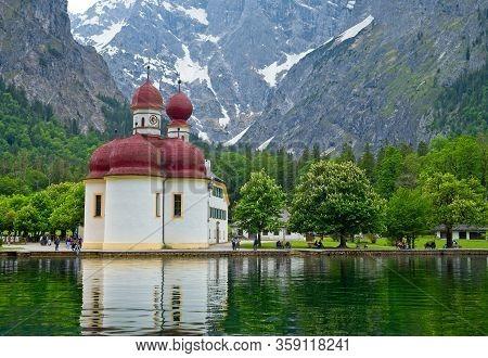 Upper Bavaria, Germany - May 27, 2019: The Onion-domed Church Of Bartholomew (kirche St. Bartholomae