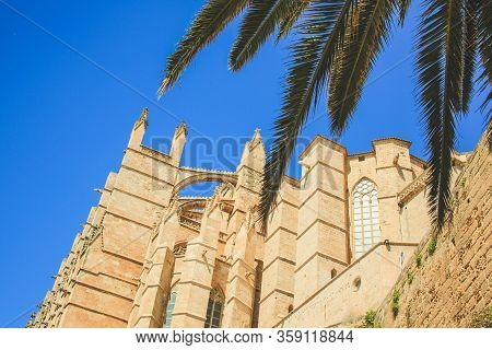 Detail Of The Cathedral Of Santa Maria Of Palma Also Known As La Seu, Located In The Capital Palma D