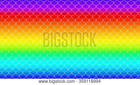 Rainbow Colorful Gradient With Mermaid Pattern For Background, Bright Rainbow Mermaid Pattern, Brigh