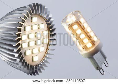 Illuminated Energy Saving G9 Led Light And An Illuminated Led Spotlight