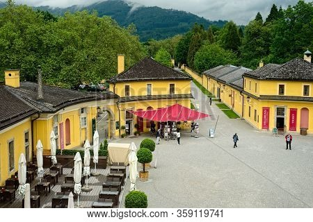 Salzburg, Austria - May 28, 2019: View Of The Hellbrunn Estate From Inside The Villa; Seen Is The Ma