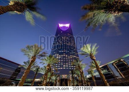 Saudi Arabia, Riyadh / Ksa - April 20 2019: Riyadh Sunset, Kingdom Tower Day To Night - Saudi Arabia