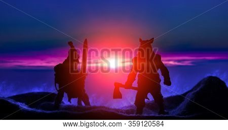 Barbarian Warriors Fantasy Battle Two Silhouette Top Of Mountain In Smoke On Saturated Sunset Vivid
