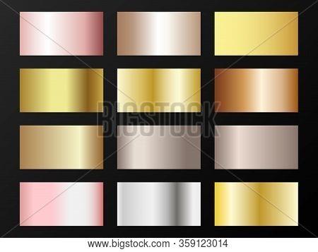 Trendy Golden, Silver, Bronze, Pink Gold Gradients. Metallic Foil Texture Silver, Steel, Chrome, Pla