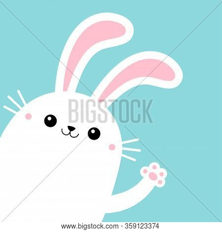 Bunny Rabbit In The Corner Waving Paw Print Hands. Yellow Scarf. Cute Kawaii Cartoon Funny Smiling B