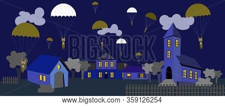 Military Paratrooper Jumping On The Village At The Night