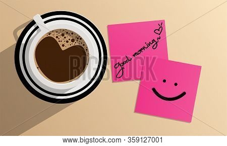 Black Coffee In A White And Black Cup Top View, The Top In Cup Is The Heart Shape. On Light Brown Ba