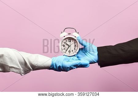Government Support For Businesses. Pandemic Covid-19 Outbreak. Hands In Protective Medical Gloves Ho