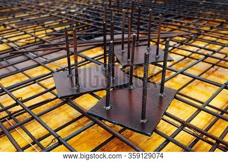 Iron Materials For Concrete Reinforcement. Construction Objects