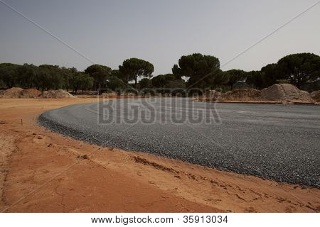Highway under construction -new asphalt pavement works