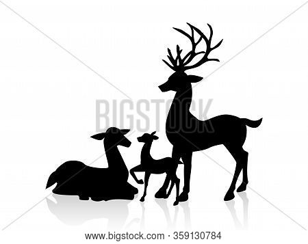 Male Deer, Femal Deer And A Little Deer Icon Isolated On White Background. Vector Illustration Desig