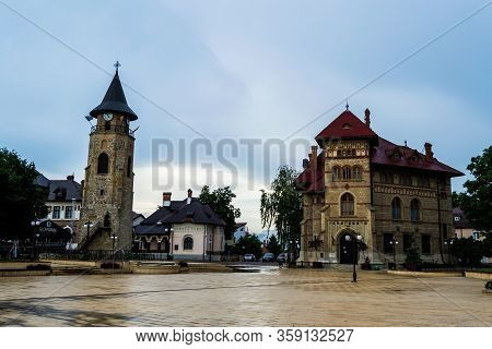 Piatra Neamt, Romania - June 22, 2019: The Bell Tower, The Cucuteni Eneolithic Art Museum And The Et