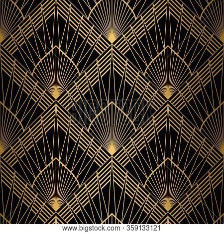 Art Deco Pattern. Seamless Gold And Black Background. Geometric Design