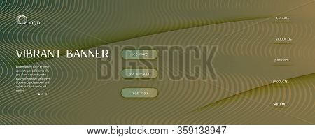 Brown Landing Page Design. Abstract Fluid Lines Pattern. Color Digital Movement. Camo Dynamic Templa