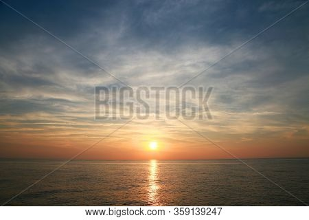 Sunset And Sunrise Time, Nature Background And Empty Area For Text, Feeling Love Or Romantic Backgro
