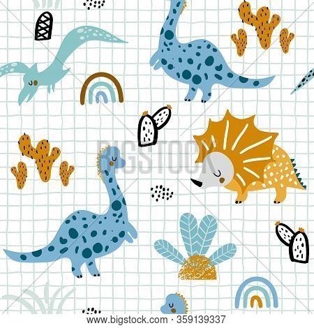 Childish Seamless Pattern With Hand Drawn Dinozaurus, Palm Trees And Cactuses In Scandinavian Style.