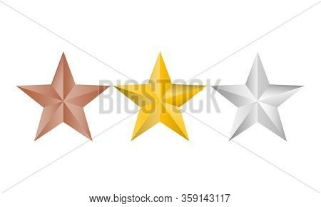 Vector Illustration Of Gold, Silver And Copper Stars Logo For Your Design, Isolated On White Backgro