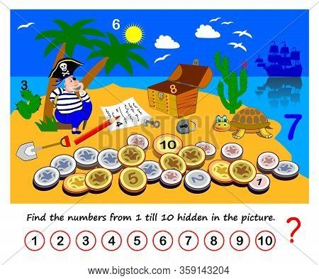 Math Education For Children. Logic Puzzle Game. Find The Numbers From 1 Till 10 Hidden In Picture. D