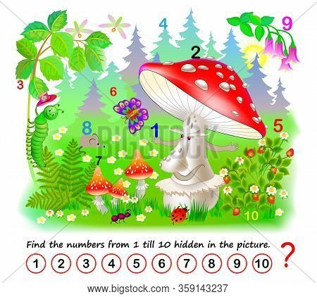 Logic Puzzle Game. Math Education For Young Children. Find The Numbers From 1 Till 10 Hidden In The