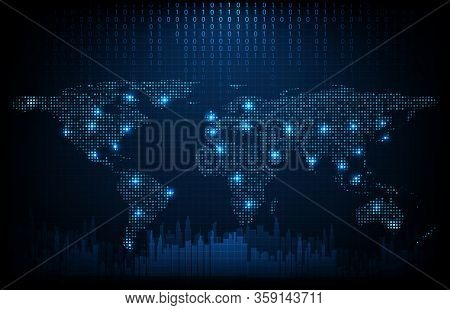 Abstract Background Of Futuristic Technology Digital Dots World Maps With City Background ,hightech