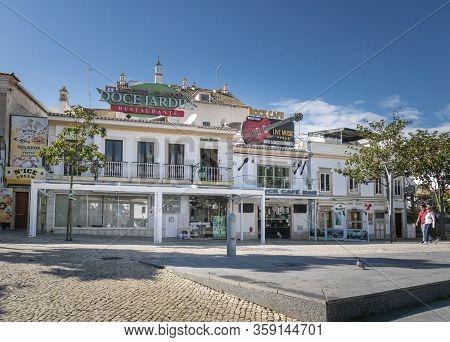 Albufeira, Algarve, Portugal, February 2020 - Catering Establishments In Albufeira Old Town, Algarve