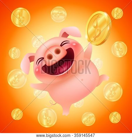 Funny Cartoon Pig With A Big Gold Coin On A Colorful Money Background