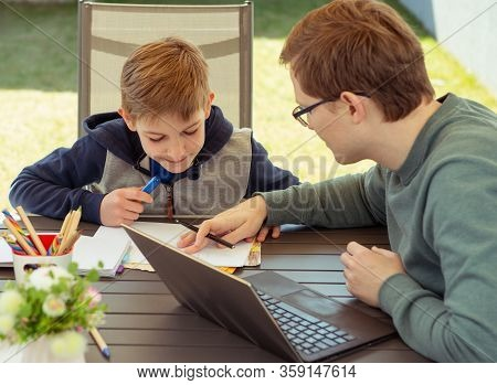 Homeoffice For The Work At Home And Homeschooling Due To Coronavirus Quarantine