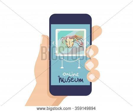 Interactive Museum Exhibition. Smatphone. Virtual Museum And Art Gallerytours In Smartphone. Online